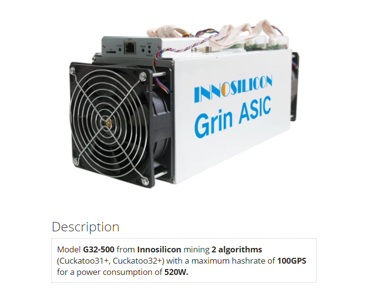 Pre-order High profit innosilicon grin g32 500 520W asic mining machine
