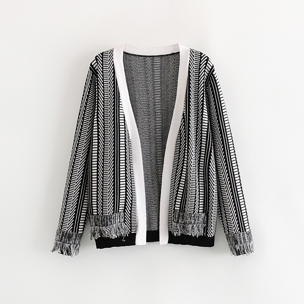 Geometric patchwork color fashion <strong>long</strong> sleeve sweater women knitted <strong>cardigan</strong> with tassels