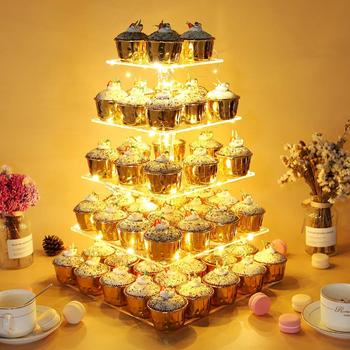 5 Tier Cupcake Stand with LED String Lights Dessert Tower Tiered Tree Square Cake Display Stands Reusable Pastry Serving Platter