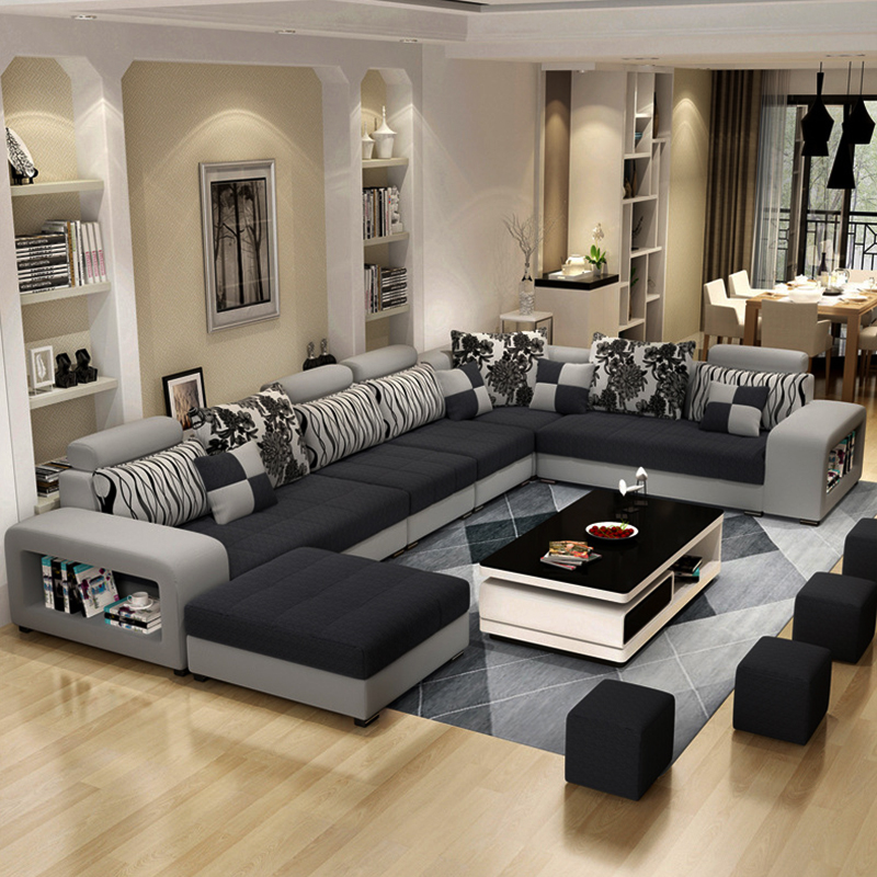 Luxury USB charging bluetooth sofas bed U shaped sectional Furniture 7 Seater modern European fabric Living Room sofas set