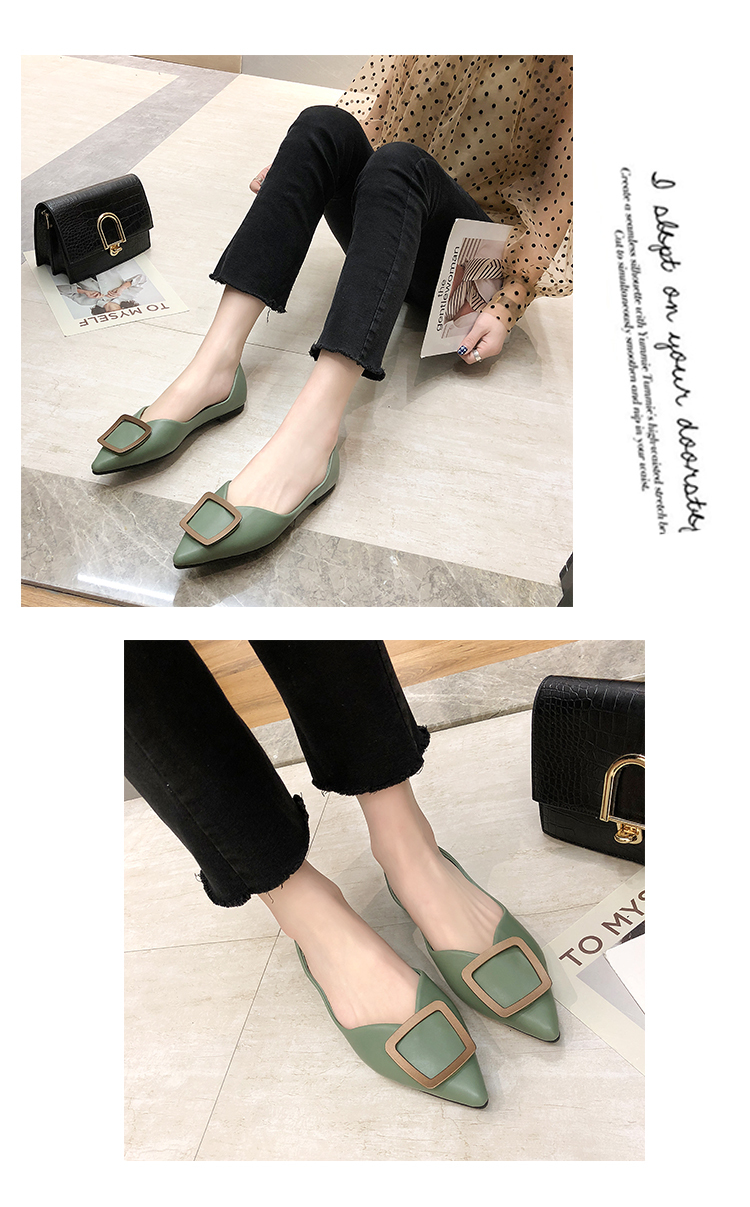 Women's new metal square buckle tip flat shoes soft sole comfortable light-mouthed single shoes