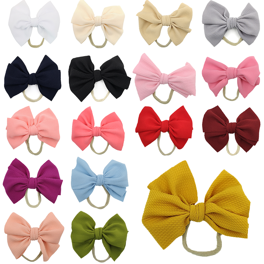 "6"" Big Solid Waffle Hair Bow Elastic Nylon Headband DIY Elastic Hairbands Spring Photo Pro Hair Accessories Free Shipping"