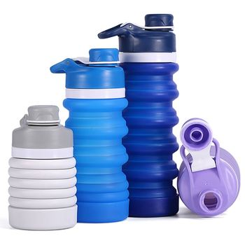 New Design Customized Bpa Free Ilicone Foldable Sport Collapsible Water Bottle Wholesale
