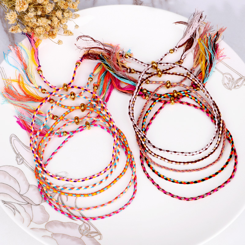 Fashion Handmade Wave Colorful Cotton Rope Weave Knot Tassel Adjustable Bracelet