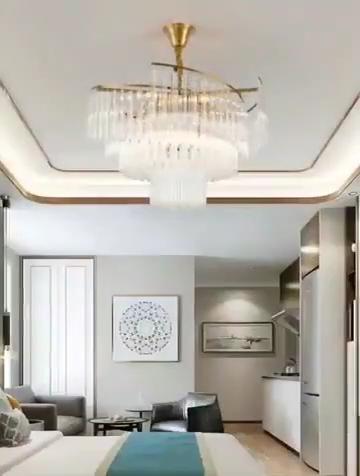 라운드 큰 매달려 로비 황금 크리스탈 샹들리에 럭셔리 현대