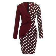 Сексуальное платье для женщин, модное платье для женщин, с длинным рукавом, пуговицами, в горошек, пэчворк, Блейзер, платье для работы, Повсед...(Китай)