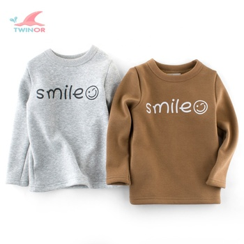 Wholesale custom smile printed thick french fleece winter kids clothing