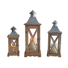 Home Decorative Wooden Hurricane Candle Lantern Set Decoration Wood Lanterns