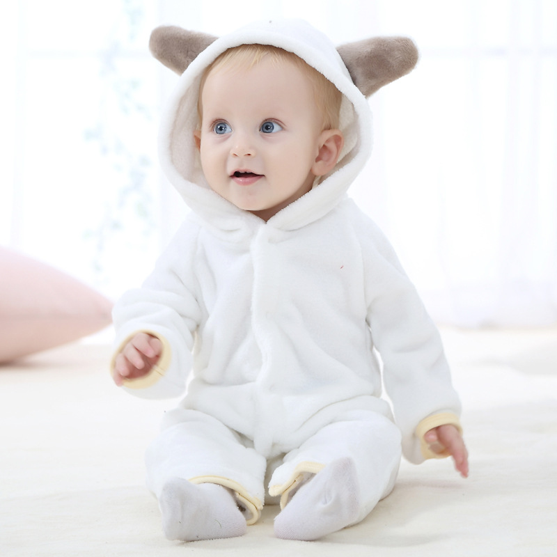 S32802W Infant Romper Baby Boys Girls Jumpsuit New born Clothing Hooded Toddler Baby Clothes Cute Animal Romper
