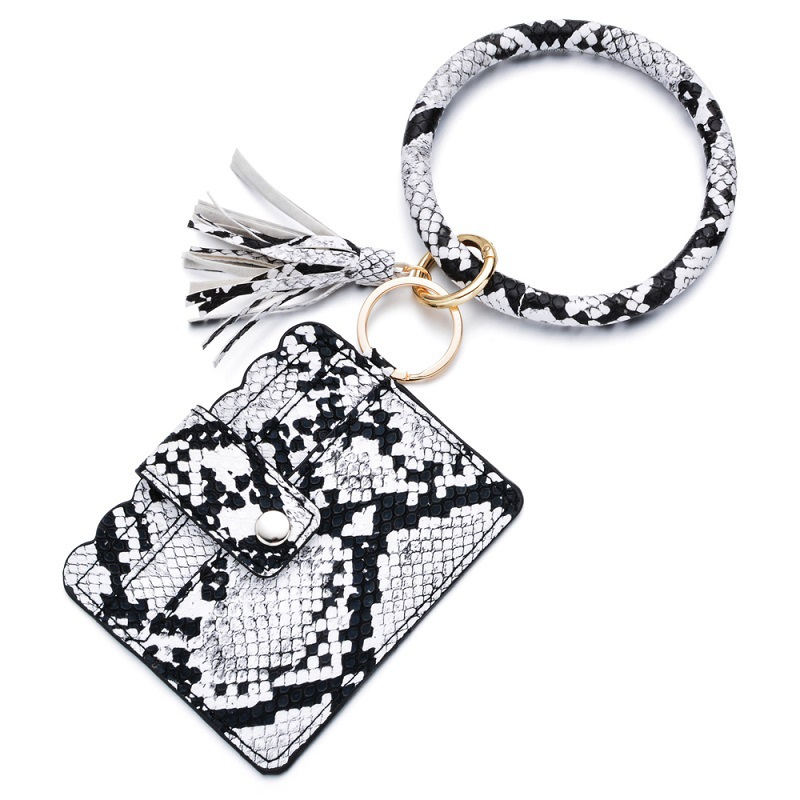 Women men Credit Card Holder Leather Badge Holders Coin Purse Keychain Wallet Money Pouch Keychain bag case