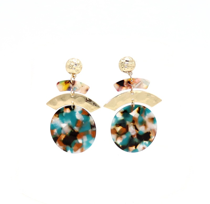 ZWW005 Trade assurance round acetate version earring double round alloy gold beads drop earring retro style women jewelry