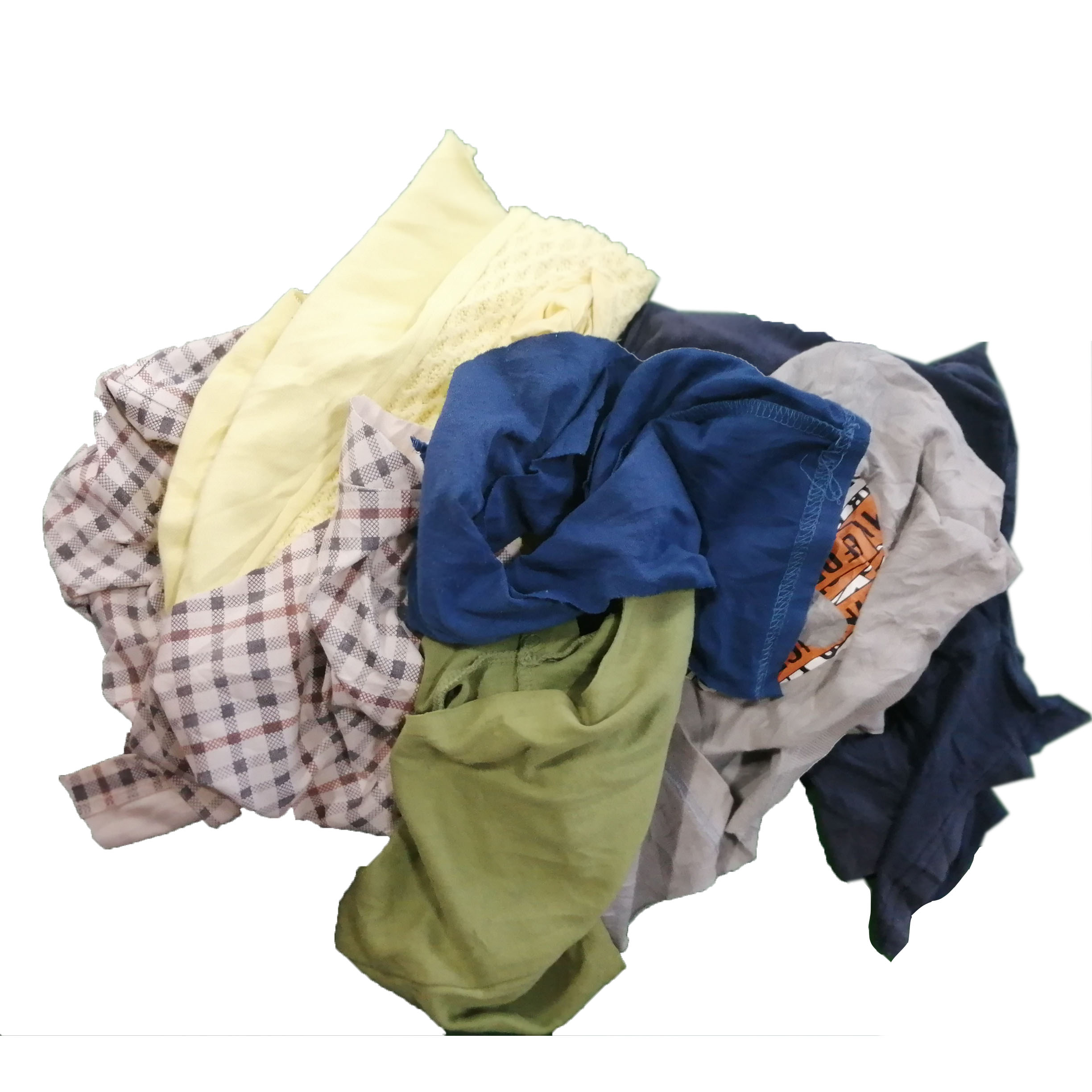 Industrial use cleaning wiping fabric rags 35cm 55cm t shirt mixed color 100% cotton rags