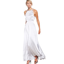 Vrouwen hoge <span class=keywords><strong>fashion</strong></span> spaghetti hoge hals mouwloos sexy zijde maxi jurk