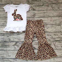 Kids Girls Easter Bunny Rabbit Leopard Bell Pants Outfits Boutique Kids Wholesale Clothing Clothes