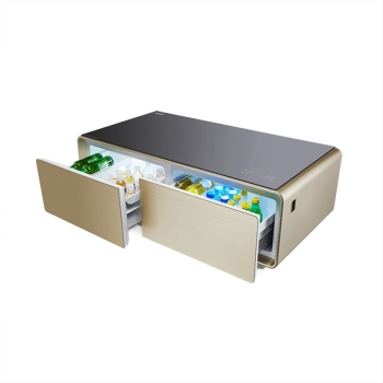 130L Drawer Refrigerator Built-in Bluetooth Audio player USB Charging Port Smart Coffee Table Fridge
