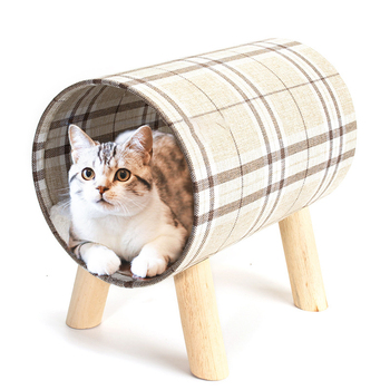 custom stable cat play tree with scratching post cat pet bed with cover