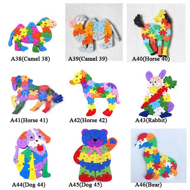 Anak-anak Mainan Pendidikan Angka Alfabet Puzzle Kayu Hewan Desain