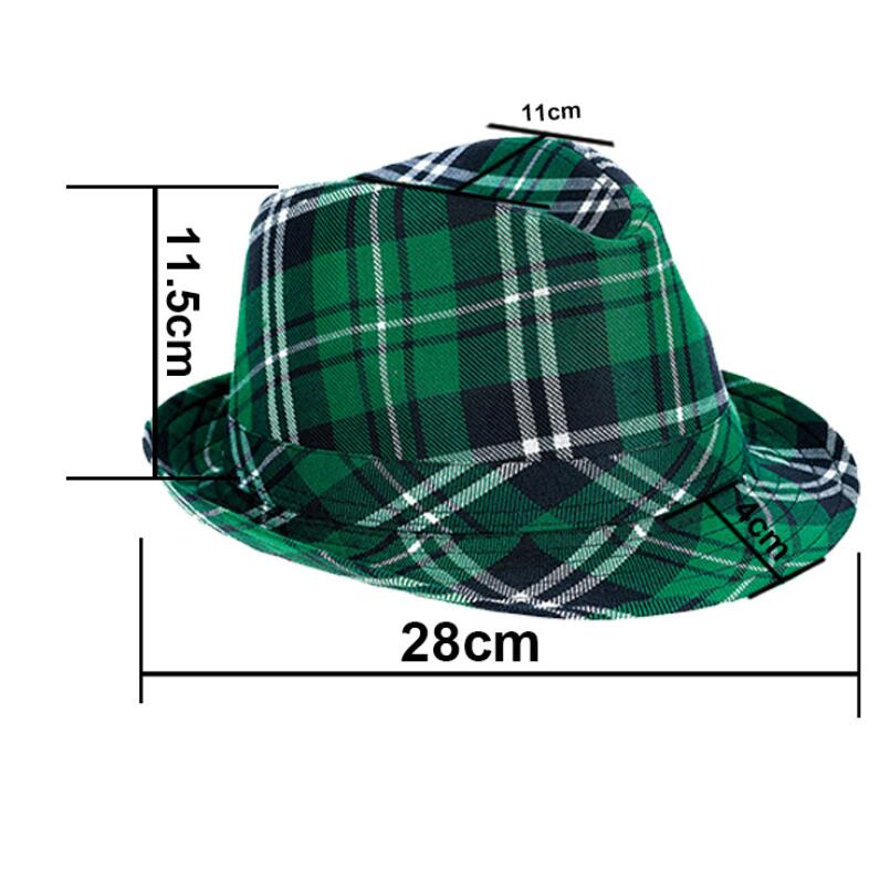St. Patrick's Day Plaid Fabric Fedora Hat custom green caps for Party