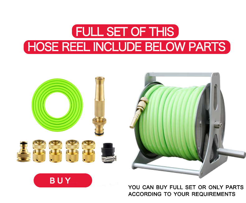 Heavy Duty Wall-Mounted or Hand-Held Sturdy Garden Hose Reel