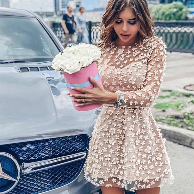 2020 банкетные вечерние платья-смокинги из жаккарда, женское Брендовое платье принцессы с длинным рукавом, Прозрачное платье с цветочной апп...(Китай)