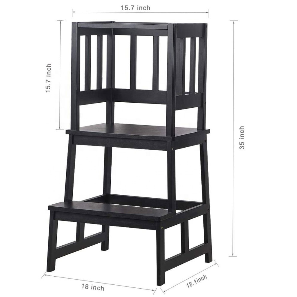 Bamboo Kids Step Stool Kids Learning Stool Child Standing Tower with Safety Rail Black