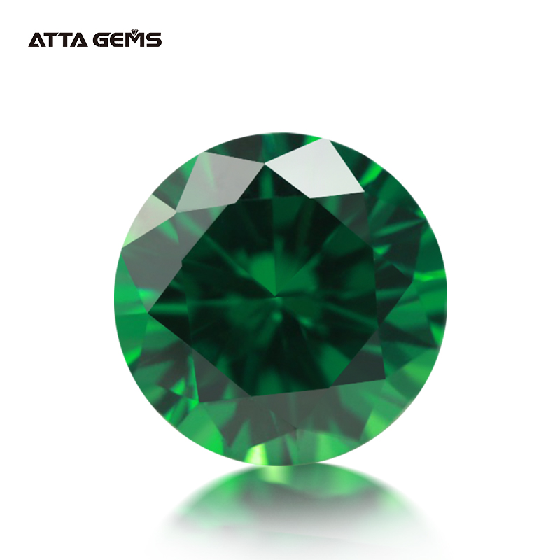 5A Size 1.0~10.mm Green Round Cut CZ Stone European Machine Cut Synthetic Gems Cubic Zirconia Cubic Zircon Stone