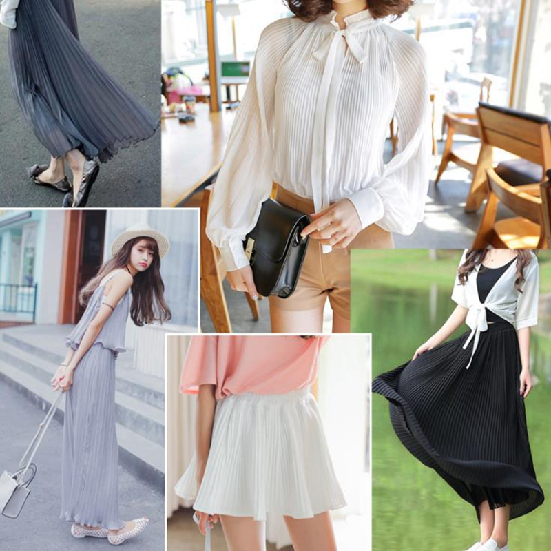 pleated chiffon fabric soft hand feeling solid color high twist pleated fabric for women fashion
