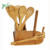Organic And Eco-Friendly Bamboo Serving & Cooking Set With Utensil Holder Organizer
