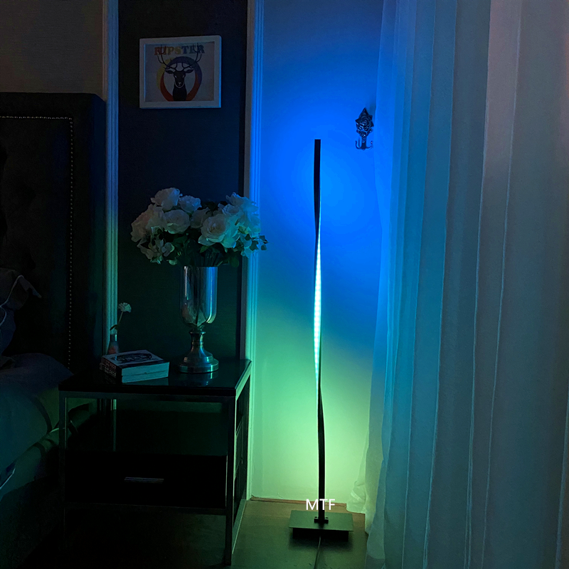Modern minimalist rgb color changing floor light Aluminum simple curved bedroom twisted led standing floor lamp