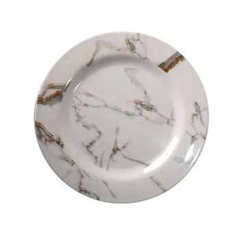 Cheap factory price OEM melamine plate plastic white wedding marble pattern elegant charger eating restaurant plates