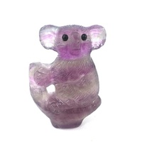 Wholesale Natural Crystal Engraved Folk Crafts Pretty Rainbow Fluorite Koala For Gifts