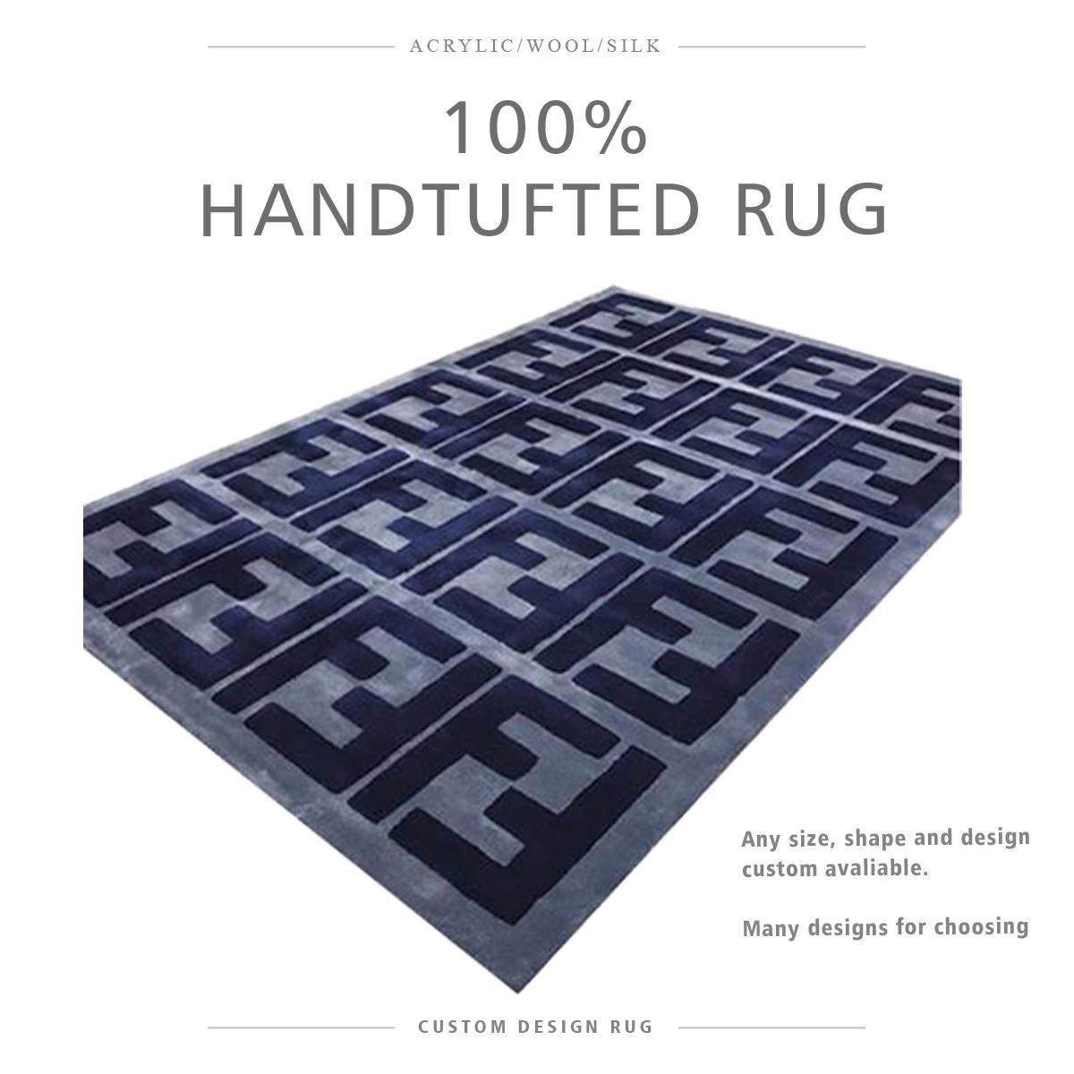 Design de Estilo da Fendi Casa Tapete Alfombras Preço Personalizado Tapete de Lã Feitas À Mão Tapete de Luxo A Partir De China fábrica