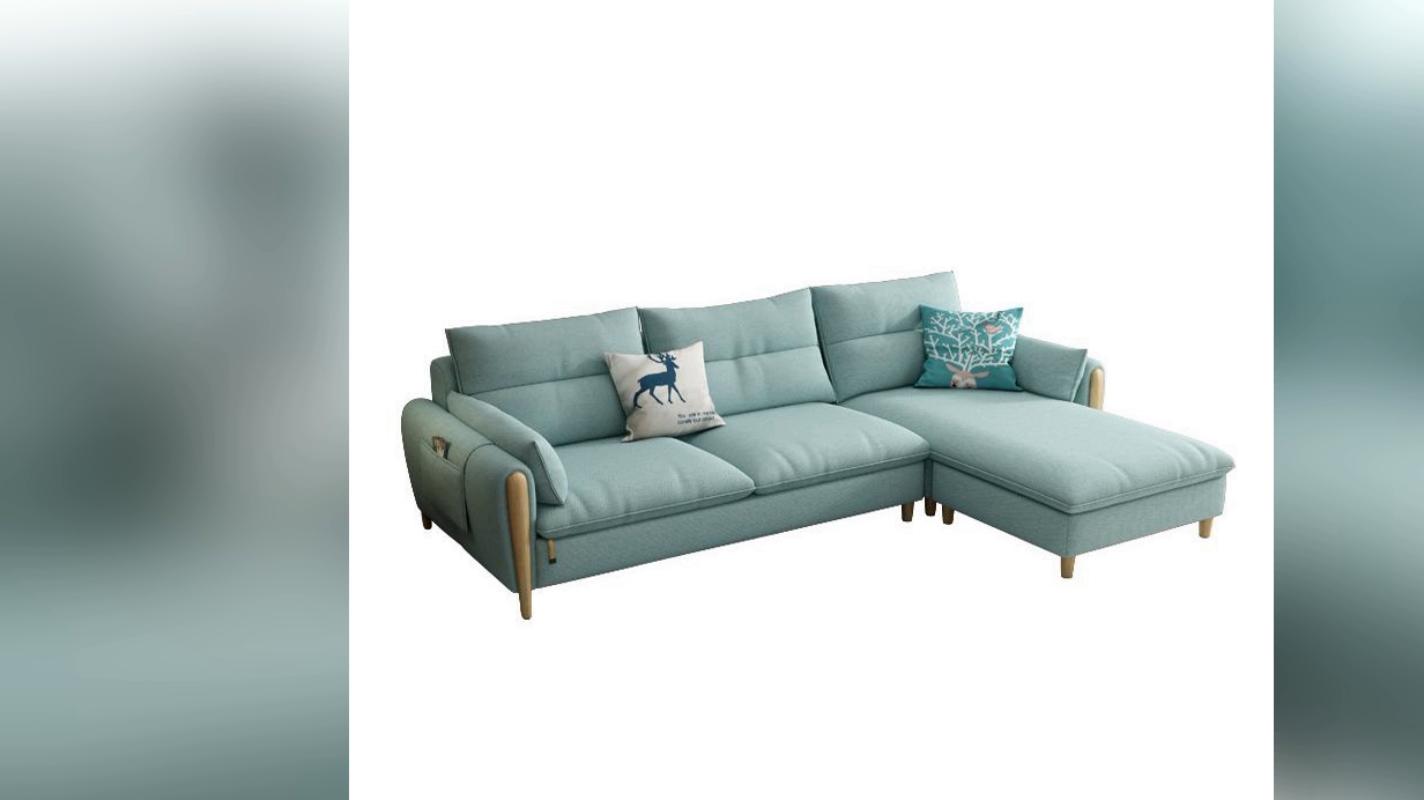 New modern European style L shape design fabric sofa with ottoman 1011