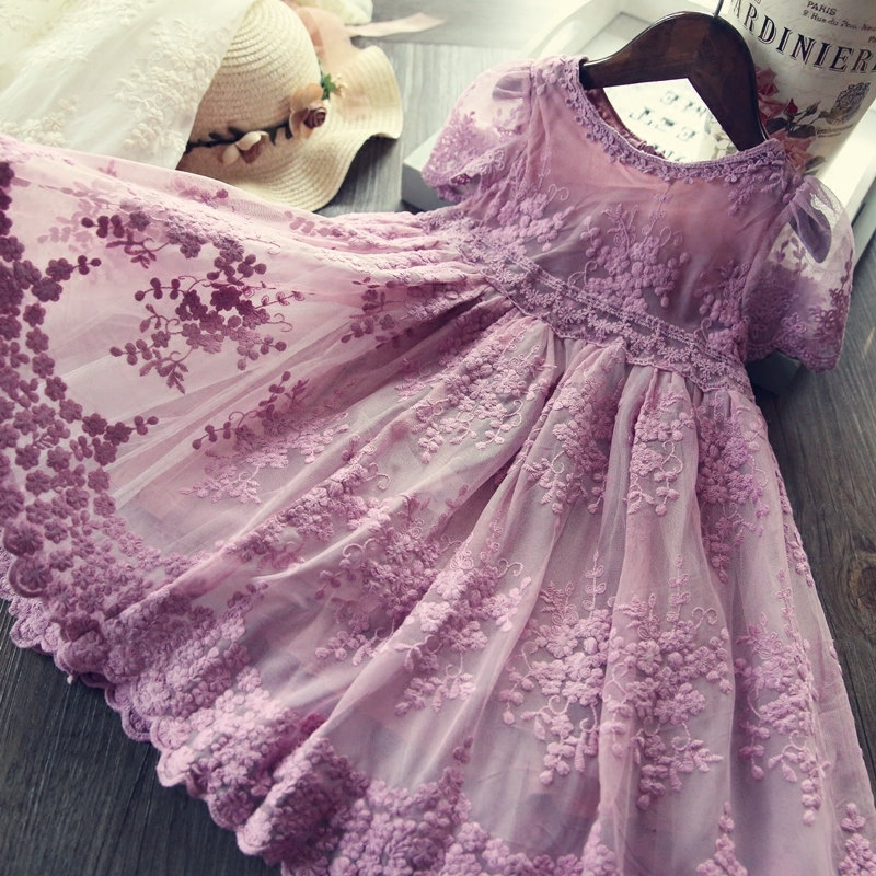 Spring Autumn Lace Princess Girls Dresses 2020