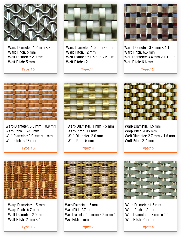 Stainless Steel Woven Metal Decorative Lock Crimped Wire Mesh