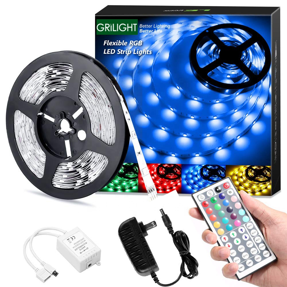 IP20 44 key IR remote controlled 5050 5M 150LED 12V RGB LED strip with power adapter