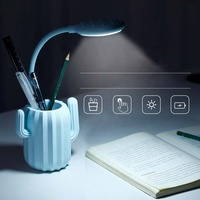 Fancy desktop office study room usage cactus penholder led usb table lamp