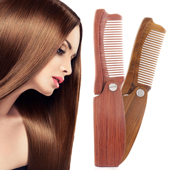 Wooden Folding Hair Combs Sandalwood Anti Static Comb