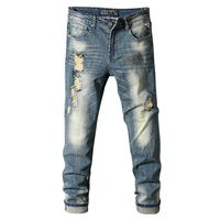 Men's New Fashion casual stretch skinny distressed ripped Mens Denim jeens New Model Cowboy Jeans