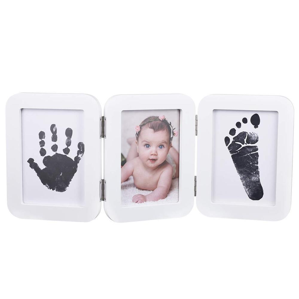 Babyprints Pasgeboren Baby Handafdruk en Voetafdruk Bureau Fotolijst & Indruk Kit met Eenvoudig te Gebruiken Schoon Touch Stempelkussen