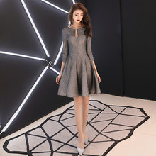 Платья для выпускного вечера It's Yiiya R212, с круглым вырезом, серебристо-серое торжественное платье для вечеринки, с рукавом три четверти, на мо...(Китай)