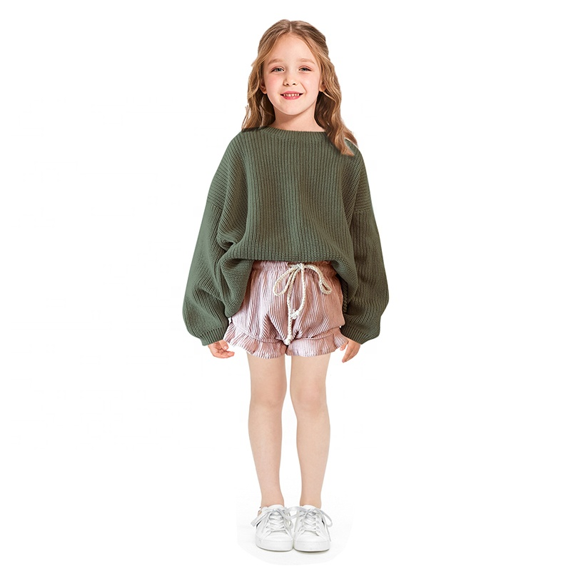 Hot sale kids girl clothing oversized knitwear chunky knit pullover