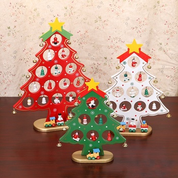 DIY Xmas Accessory Grow Ornaments Wooden Christmas Trees Table fireplace Decorations Trees For New year holiday