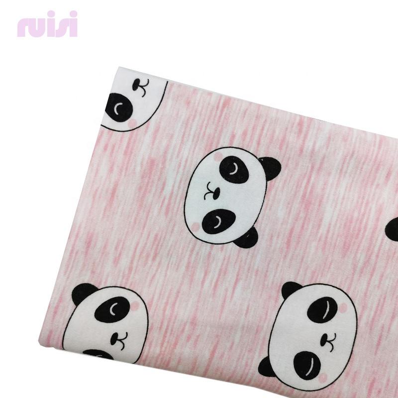 100% Cotton Cartoon Panda Pattern Jersey Super Soft Fabric for Baby Blanket Fabric