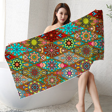 Luxury Turkish Reactive Printed Polyester Custom Cotton Ultra Compact Sport Cloth Clip Microfiber Large Circular Beach Towel