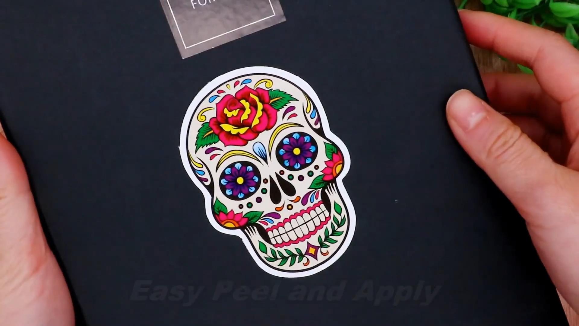 Pegatinas de esqueleto de azúcar Hybsk, calcomanías de esqueleto para ordenador portátil, Dia de Los Muertos, pegatina mexicana del Día de Los Muertos