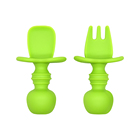 BHD Custom BPA free FDA Food Grade Baby First Stage Soft Feeding Tipped Toddler Utensils Set Silicone Baby Fork And Spoon