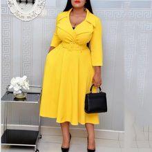 Элегантное офисное женское платье-Блейзер, Повседневное платье, Осеннее женское желтое платье макси с длинным рукавом, вечерние платья раз...(Китай)