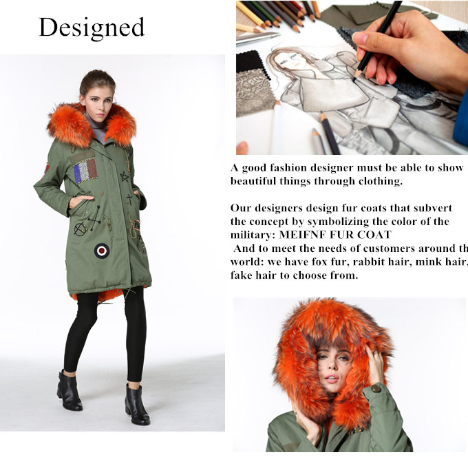 Big Fur Parka Winter Khaki Casacas Mujeres Wears Fox Fur Trim Long Boutique TRENCH COAT WOMEN