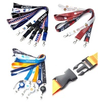 Polyester Sublimation Heat Transfer Printing Neck Keychain ID Card Badge Holder Custom Lanyard